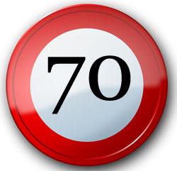 70. Geburtstag Schild